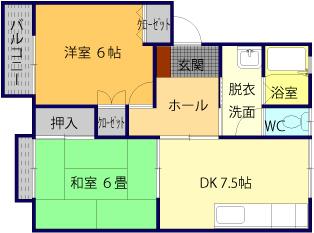 敷金1ヶ月、礼金1ヶ月!松江市橋南|乃木福富町の2DKアパート、コーポメツギ103号間取り図